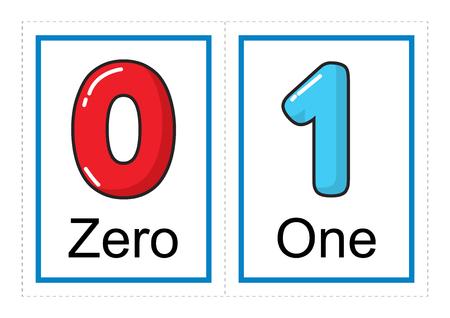 Kolekcja kart flash do wydrukowania z numerami i ich imionami dla dzieci w wieku przedszkolnym / przedszkolnym | nauczmy się liczb ilustracji