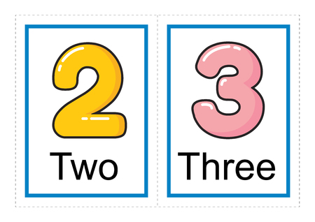 Printable flash card collection for numbers and their names for preschool / kindergarten kids | let's learn numbers illustration Banco de Imagens - 117111080