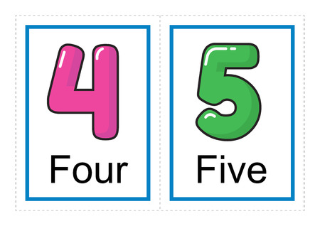 Printable flash card collection for numbers and their names for preschool / kindergarten kids | let's learn numbers illustration Çizim