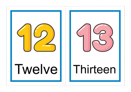 Printable flash card collection for numbers and their names for preschool / kindergarten kids | let's learn numbers illustration Banque d'images - 117111084