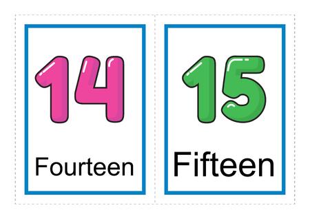 Colección de tarjetas flash imprimibles para los números y sus nombres para niños de preescolar / jardín de infantes   aprendamos números ilustración