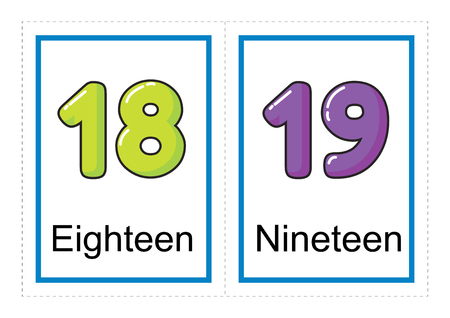 Printable flash card collection for numbers and their names for preschool / kindergarten kids | let's learn numbers illustration Imagens - 117111089