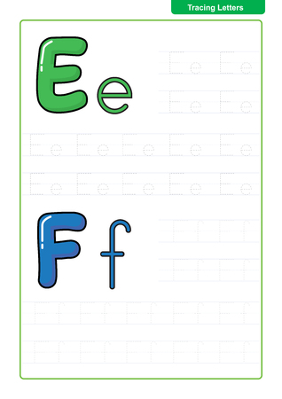 ABC Alphabet letters tracing worksheet with alphabet letters. Basic writing practice for kindergarten kids A4 paper ready to print vector illustration Çizim