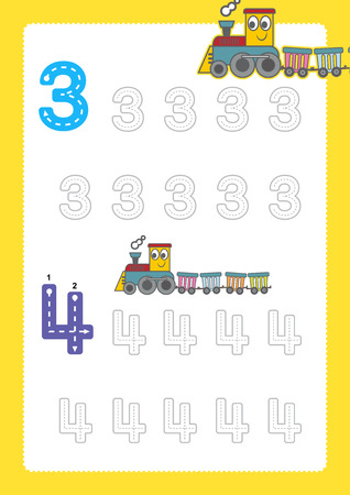 Free handwriting pages for writing numbers Learning numbers, Numbers tracing worksheet for kindergarten with train cartoon train clipart Çizim