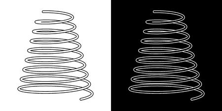 Schraubenfederkabelsymbole Schraubenfedersymbol auf weißer Hintergrundvektorillustration