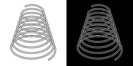 Icônes de câble de ressort hélicoïdal symbole de ressort hélicoïdal sur illustration vectorielle fond blanc
