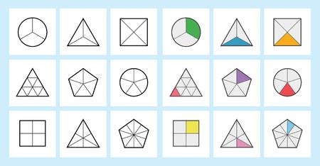 Fracciones matemáticas Calculadora de fracciones simplificación de fracciones en la ilustración de vector de fondo blanco