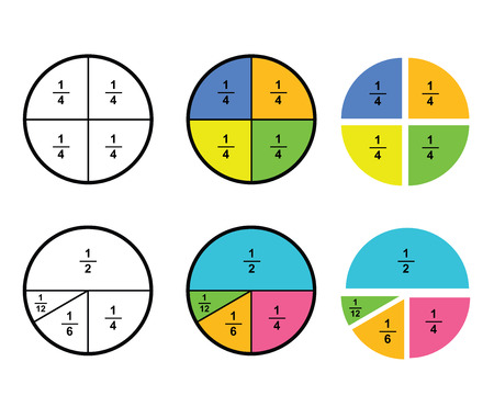 Fraction mathematics Fraction Calculator Simplifying Fractions on white background  vector illustration
