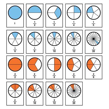 Pastel de fracciones 2D. Fracciones para el icono de contorno plano del cartel de la cubierta de la presentación del sitio web