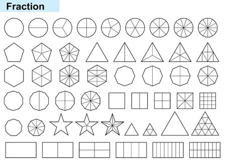 Fracciones matemáticas Calculadora de fracciones simplificación de fracciones en la ilustración de vector de fondo blanco Ilustración de vector