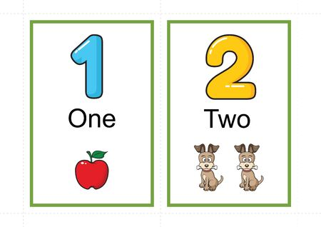 printable number flashcards for teaching number, flashcards number, a4 with dotted line cut Banco de Imagens - 127189859