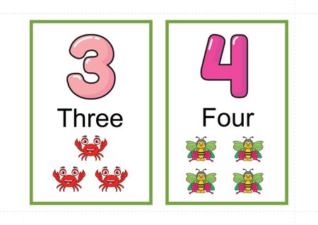 printable number flashcards for teaching number, flashcards number, a4 with dotted line cut 스톡 콘텐츠 - 127189866