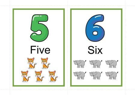 printable number flashcards for teaching number, flashcards number, a4 with dotted line cut Standard-Bild - 127189874