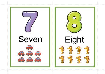 afdrukbare nummer-flashcards voor onderwijsnummer, flashcards-nummer, a4 met gestippelde lijnuitsnede Vector Illustratie