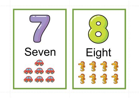 printable number flashcards for teaching number, flashcards number, a4 with dotted line cut 스톡 콘텐츠 - 127189878