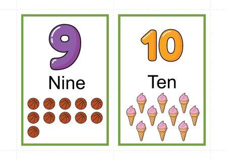 Tarjetas didácticas de números imprimibles para enseñar números, tarjetas didácticas de números, a4 con corte de línea punteada