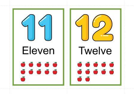 flashcards imprimables pour numéro d'enseignement, numéro de flashcards, a4 avec coupe en pointillé