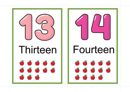 druckbare Zahlenkartei für den Unterricht Zahl, Karteikarten Zahl, A4 mit gepunktetem Linienschnitt