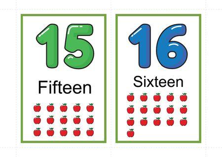 flashcard con numeri stampabili per numero di insegnamento, numero di flashcard, a4 con taglio a linea tratteggiata Vettoriali