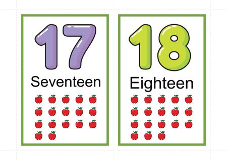 printable number flashcards for teaching number, flashcards number, a4 with dotted line cut Stock fotó - 127189911