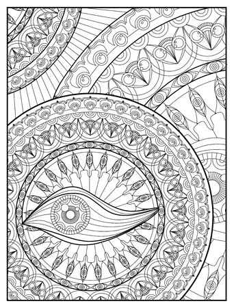 Mandala Coloring page For Adult Relaxation Mandala design eye Mandala Coloring Pages For Meditation And Happiness mandala flower coloring book page template high detail vector