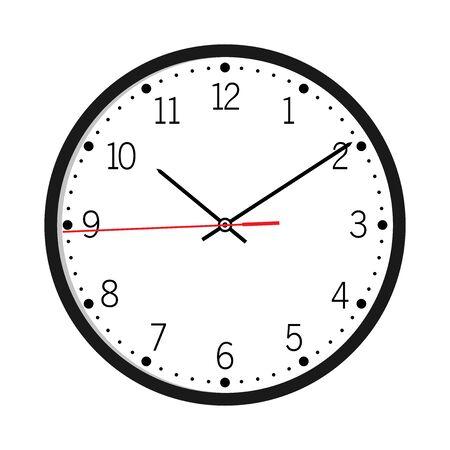 Reloj de pared aislado en la ilustración de vector de fondo blanco Reloj de pared vector