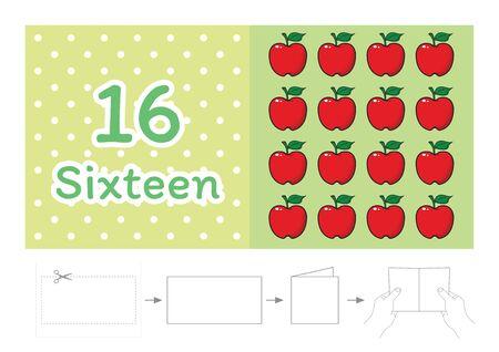 Arbeitsblatt für Kindergartenkinder, Zähle die Anzahl der Gegenstände, Lerne die Zahlen