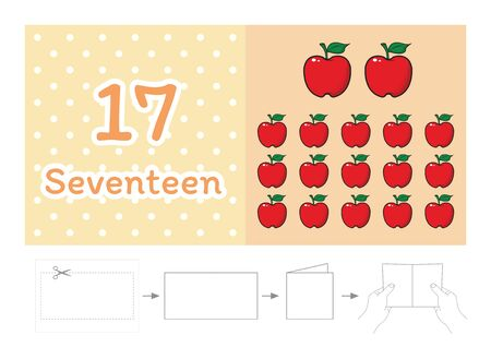 worksheet for kindergarten kids, Count the number of objects, Learn the numbers vector