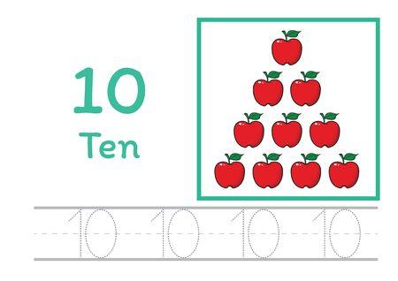 Nummer traceren en schrijven tracering werkblad voor de kleuterschool Leren nummer met cartoon clipart voor het tellen van werkbladen Gratis handschrift vector