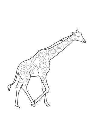 stock vector giraffe coloring page for kids giraffe coloring worksheet game or giraffe cartoon coloring page vect