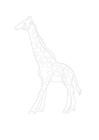 Trace and color giraffe. Giraffe  tracing  worksheet  game or giraffe cartoon coloring page vector