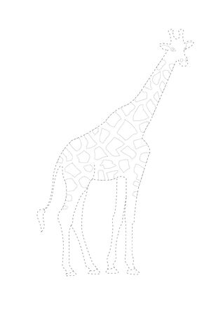 Trace and color  giraffe . Giraffe  tracing  worksheet  game or giraffe cartoon coloring page vector