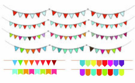 colorful festival flag carnival flag on white background