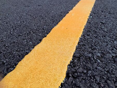 Close-Up of Road markings on asphalt. Road line. 写真素材