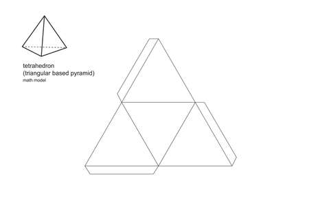 3d model maths shapes Patterns print perfectly on A4 and standard letter size paper.  To enlarge or minimise use a photocopier.  Print, cut, fold and glue the tabs to make perfect three dimensional. Vectores