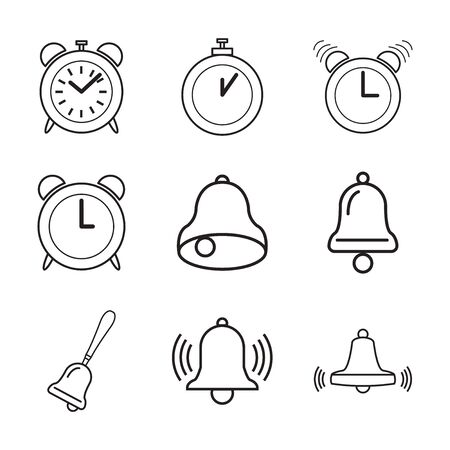 bell alarm clock symbol, alarm clocks  icon on white background