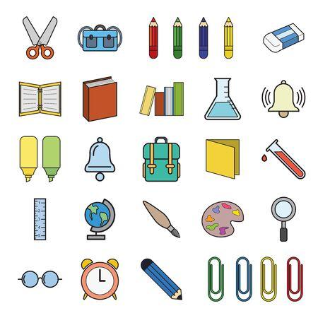 Set vector  education Icons, education icon set on white background.