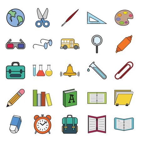 Set vector  education Icons, education icon set on white background.