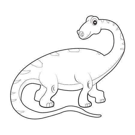 dinosaur colouring page. Cute dinosaur coloring page. Cartoon dinosaur colouring page.  イラスト・ベクター素材