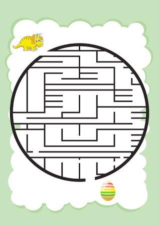 dinosaur Mazes for Kids. Maze games worksheet for children. worksheet for education.Games for Homeschooling. Illustration