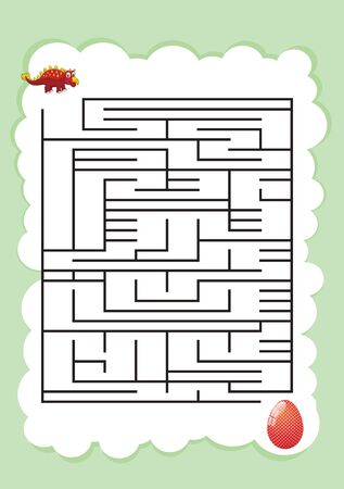 dinosaur Mazes for Kids. Maze games worksheet for children. worksheet for education.Games for Homeschooling.  イラスト・ベクター素材