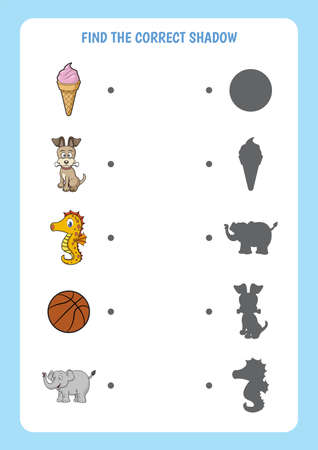 Funny cartoon worksheet. Find the correct shadow. Educational matching game for children.