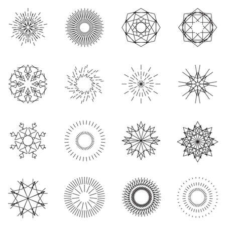 Starburst sunburst abstract explosion fireworks vector set.