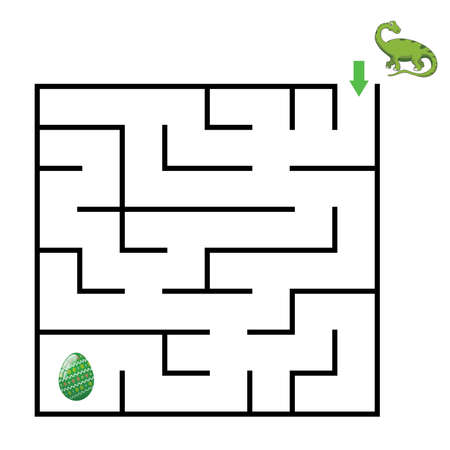 dinosaur Mazes for Kids. Maze games worksheet for children with surprise egg. Game and activities for kids.Games for Homeschooling. Vectores