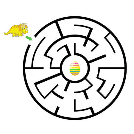 dinosaur Mazes for Kids. Maze games worksheet for children with surprise egg. Game and activities for kids.Games for Homeschooling. Stock Illustratie