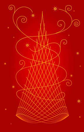 Original stylized Christmas tree Illustration