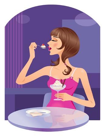 woman eat: La muchacha que come el helado en el caf� Vectores