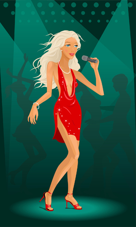 singing girl in sexy dress with microphone Stock Vector - 1477292