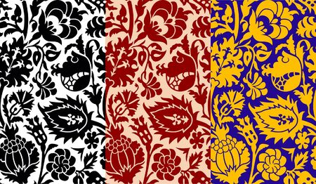 Seamless old-fashioned ornamental floral patterns