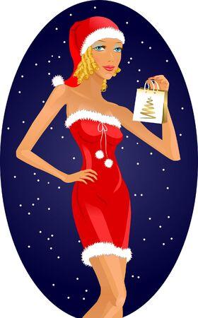 Beautiful girl with a bag in santa costume
